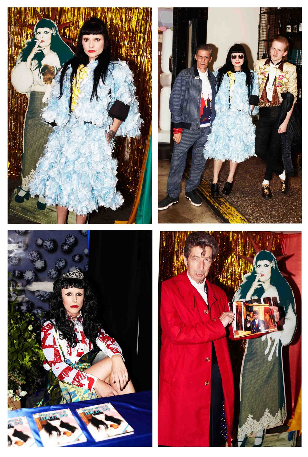 Launch Event  Julia with Cut Out; Julia with designers Ed Marler and Judy Blame; Artist Duggie Fields; Performer dressed as Princess Julia