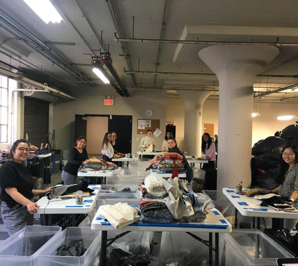 @ecofashionexpo  volunteering at the FABSCRAP warehouse. ( @fabscrap Instagram )