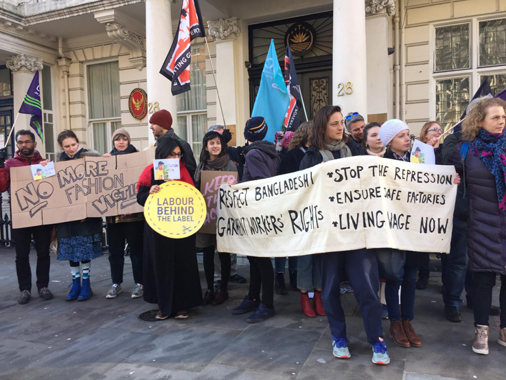 Advocates protesting with  Labour Behind the Label  and Clean Clothes Campaign. Photo: Courtesy of Clean Clothes Campaign