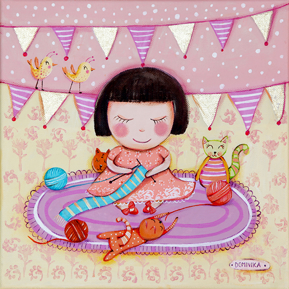 Girl knitting with her cats ~ Dominika Bozic ~ 2014
