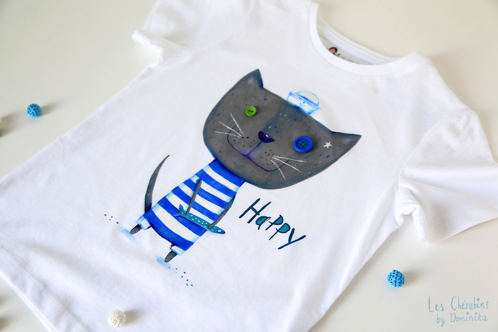 "Hand painted boy's t-shirt ""Cat Happy"""