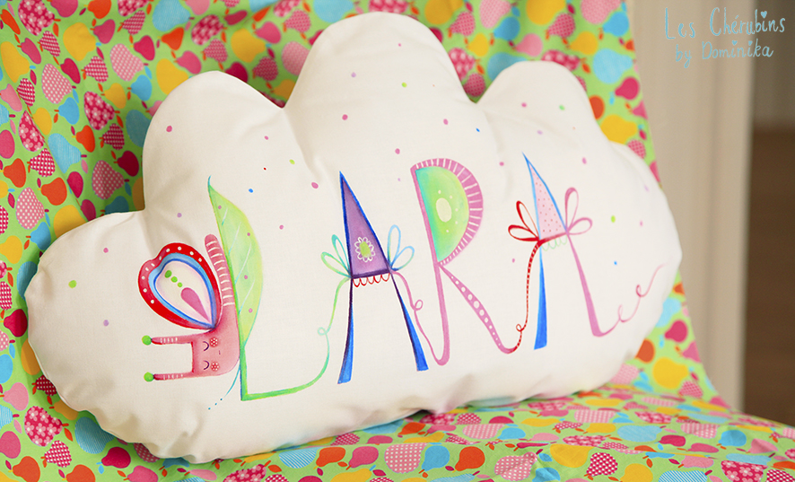 "hand painted cloud cuddle pillow ""Lara"""