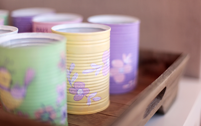 Hand painted metal tins