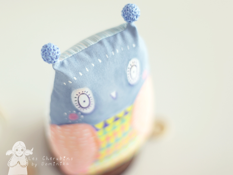 Baby owl hand painted cuddle toy by Dominika Bozic