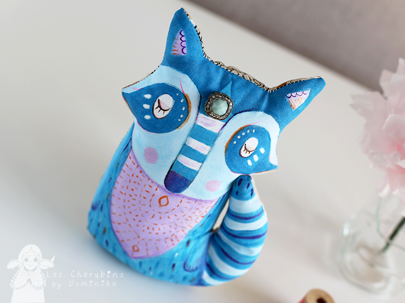 Blue Raccoon, handpainted cuddle toy by Dominika Bozic