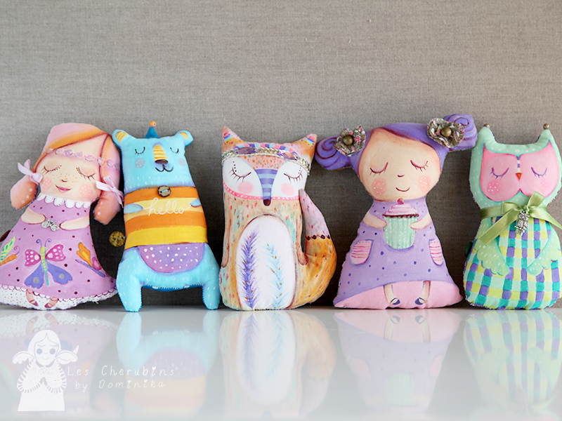 Handpainted and handmade cuddle toys and dolls