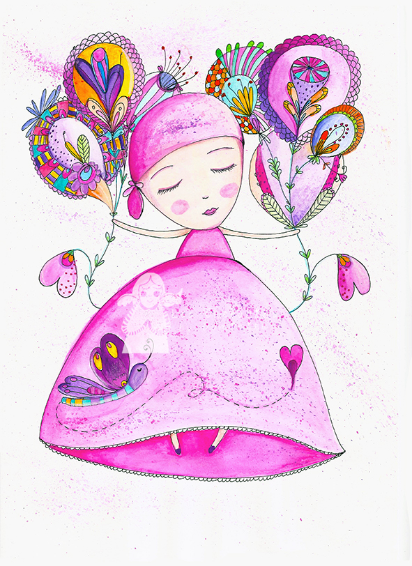 Pink Lady, original watercolor illustration by Dominika Bozic