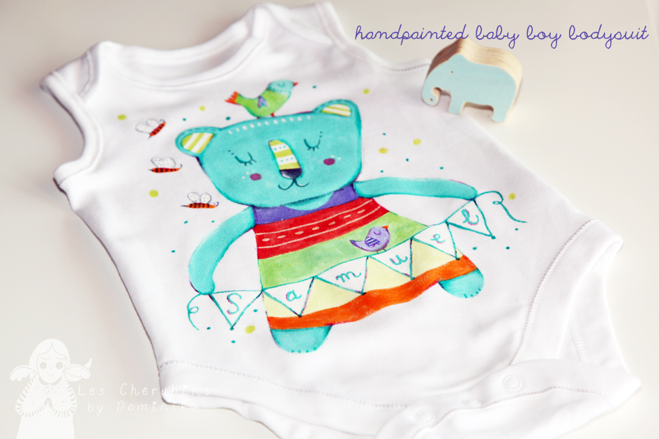 hand painted baby suit by Dominika Bozic