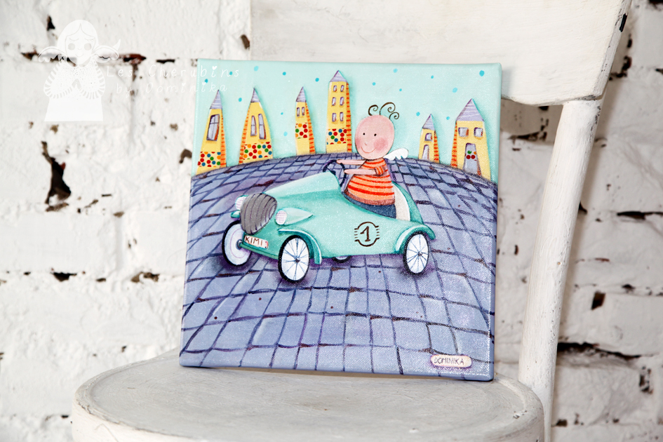 Angel in an old timer car acrylic on canvas, 30x30cm by Dominika Bozic photo was taken in Cvjetna galerija RL in Zagreb, Croatia