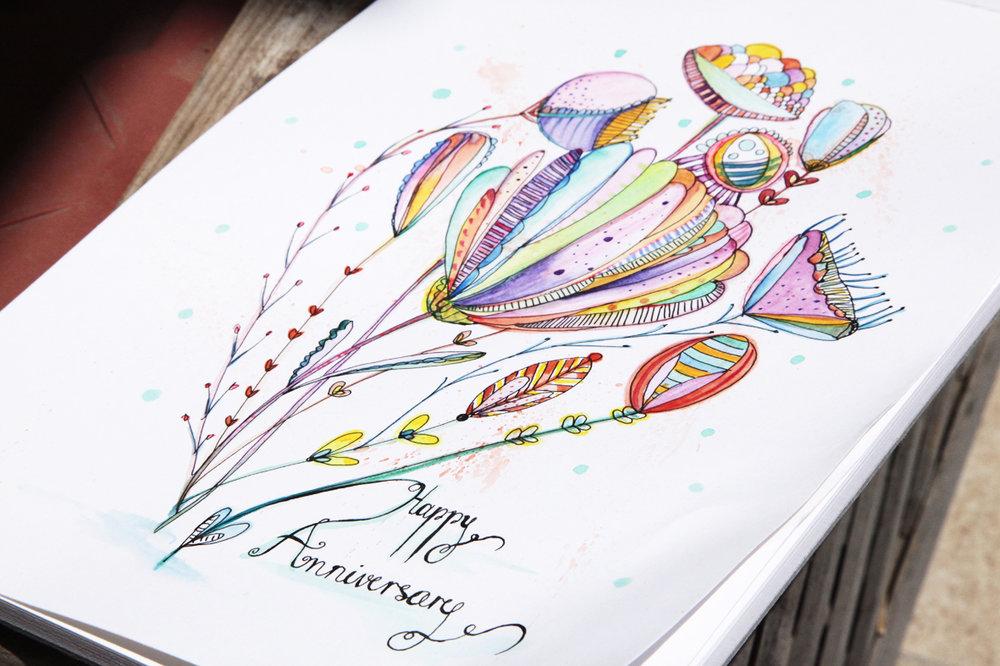 Happy Anniversary - original ink and watercolors illustration by Dominika Bozic