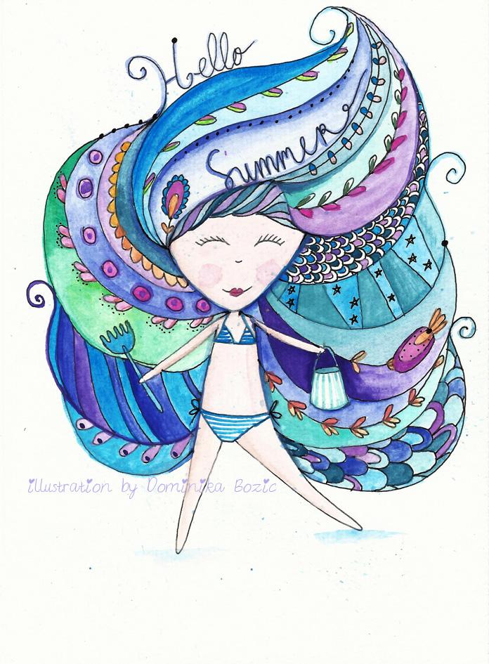 Original illustration Hello Summer by Dominika Bozic