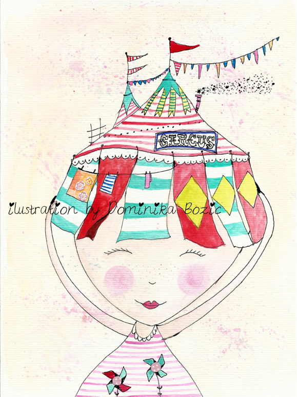 Circus on my head original illustration by Dominika Bozic
