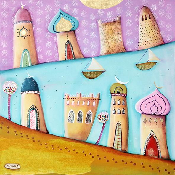 """From Qatar"" - original mixed media painting by Dominika Bozic, May 2014, 50x50cm"