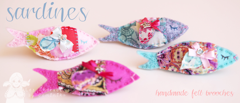 Handmade sardine brooches by Dominika Bozic