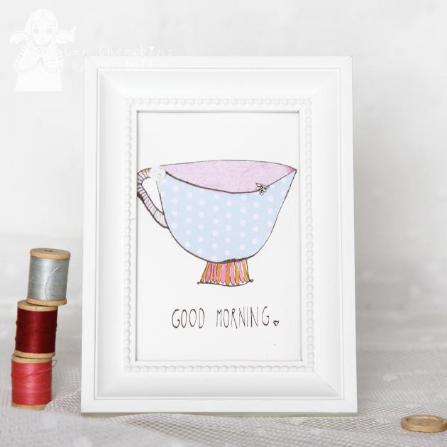 Good Morning Blue 10x15cm collage/illustration