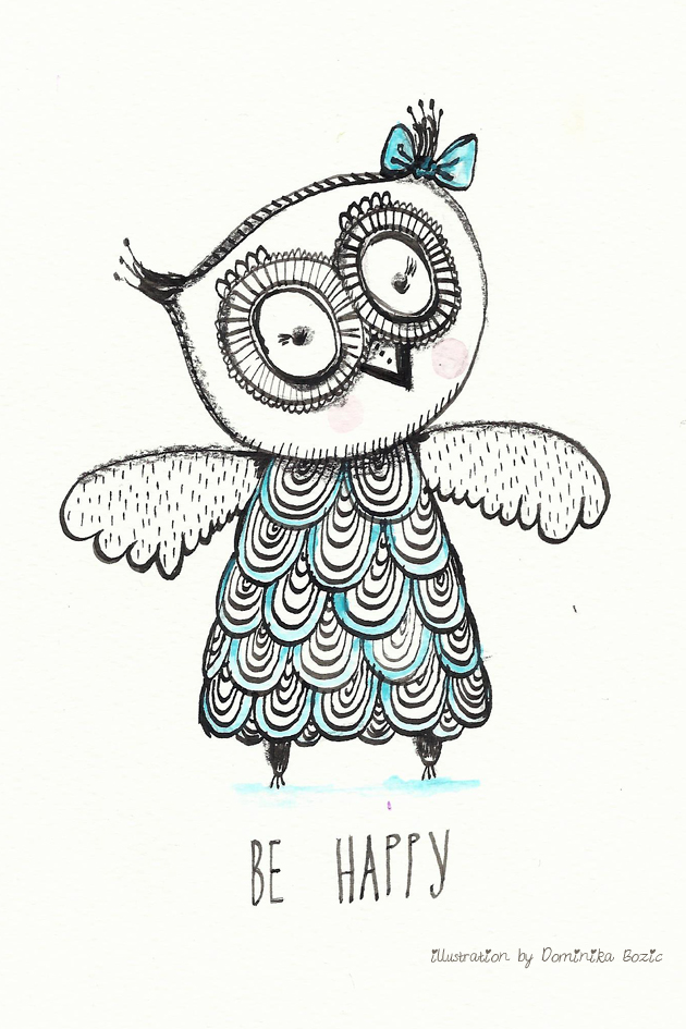 Illustration using black ink and watercolors by Dominika Bozic BE HAPPY