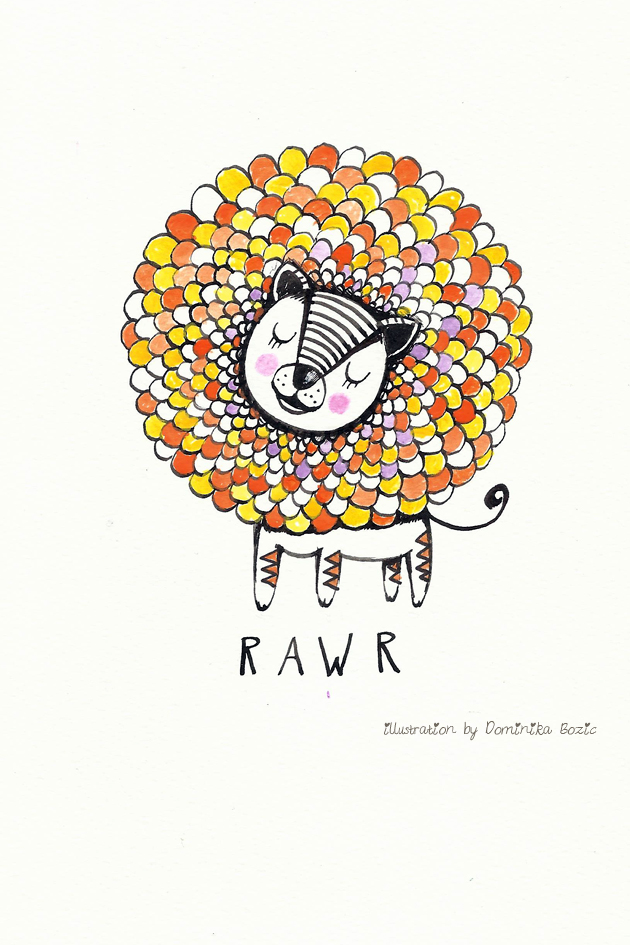 Illustration using black ink and watercolors by Dominika Bozic RAWR