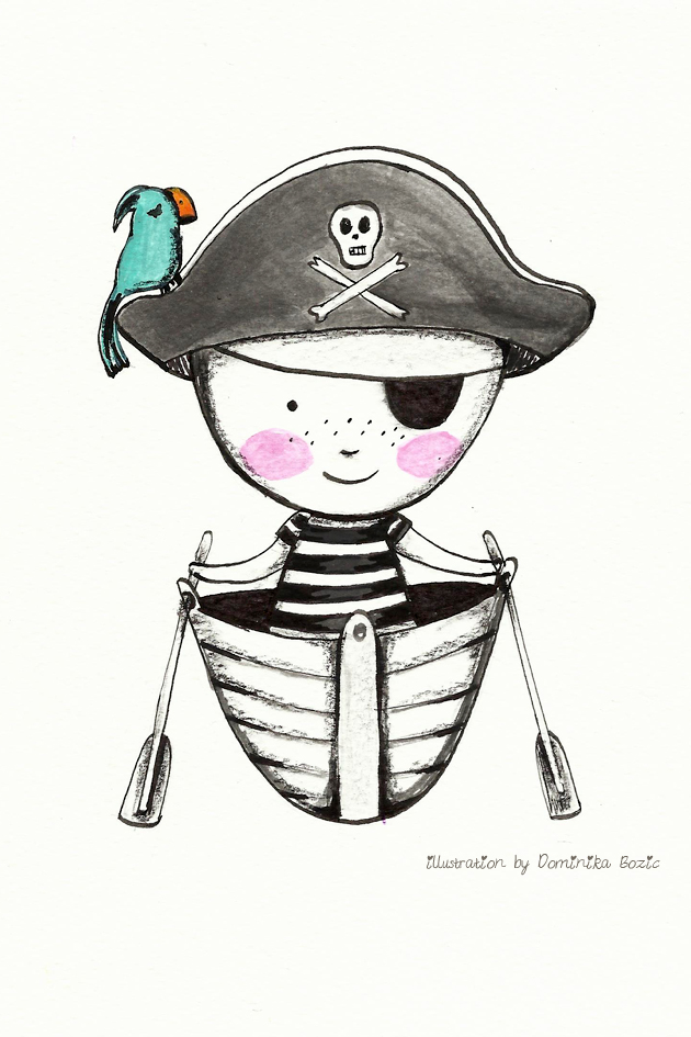 Illustration using black ink and watercolors by Dominika Bozic PIRATE