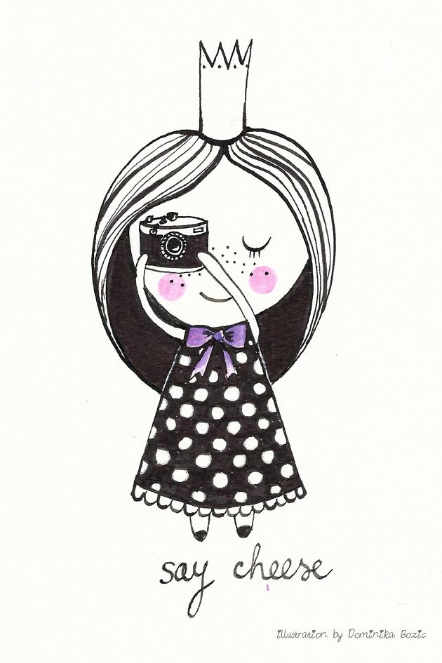 Illustration using black ink and watercolors by Dominika Bozic SAY CHEESE