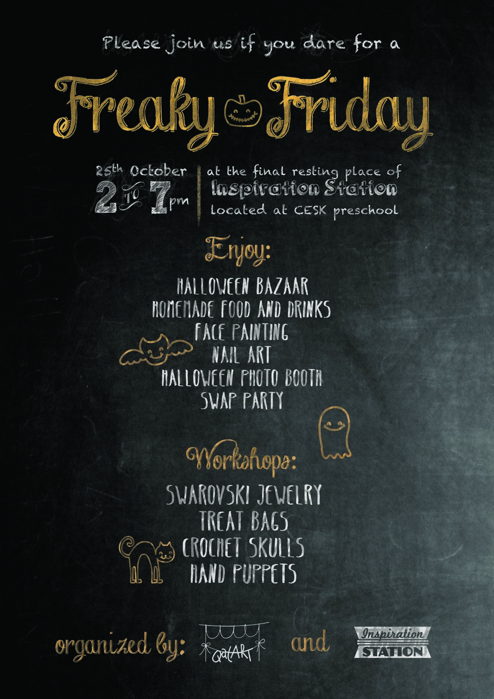 Please come and support our first event - Freaky Friday!    Here is the flyer and if you have any question please contact me on  cherubins3@gmail.com