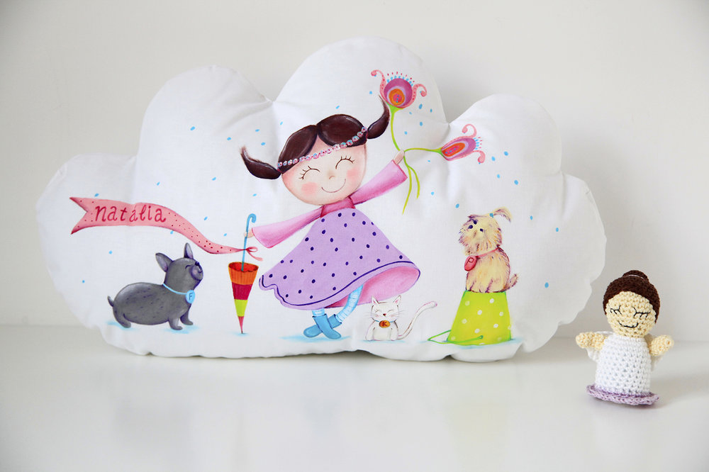 Hand painted cloud cuddle pillow