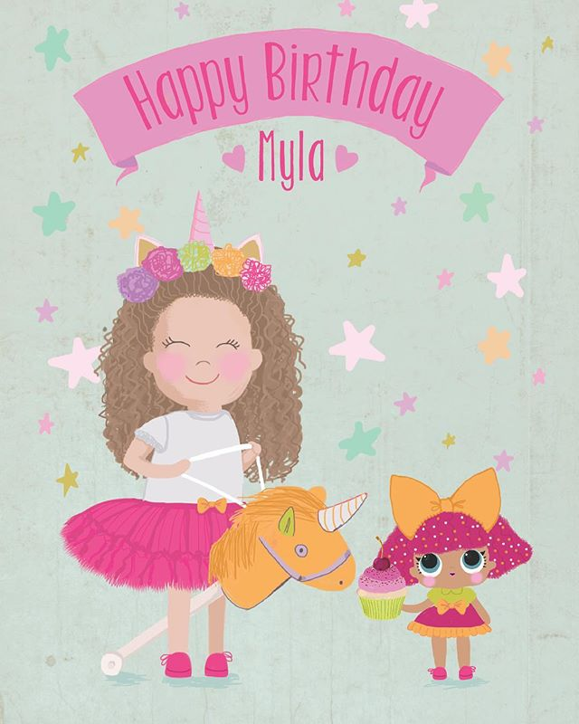 Personalised birthday card for a girl who loves unicorns & beanie boo toys 🤗 #digitalillustration #dominikabozic #lescherubins #lescherubinsbydominika #lescherubinsart #personalisedbirthdaycard #personalisedbirthdaygift