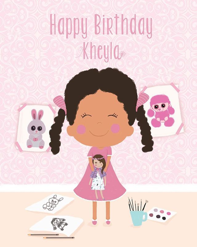 Personalised birthday card for a girl who enjoys drawing, loves beanie boo toys and dolls 🤗 #digitalillustration #dominikabozic #lescherubins #lescherubinsbydominika #lescherubinsart #personalisedbirthdaycard #personalisedbirthdaygift