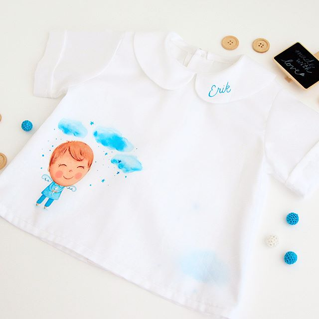 What do you think of this gift for 6mo baby boy Erik? Shirt is made beautifully by a local designer and I hand painted front, back and collar with special colors for fabric. Fabric is 100% cotton with satin finish and looks so beautiful. It can be hand washed and ironed on reverse side. Can't wait to hear your thoughts 🤗