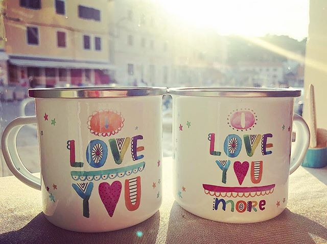 Enamel mugs with my design made in Croatia as a souvenir gift from a beautiful island Losinj. #go2losinj #golosinj #lescherubins #dominikabozic #lescherubinsbydominika #lescherubinsart #iloveyoumoremug #iloveyoumug