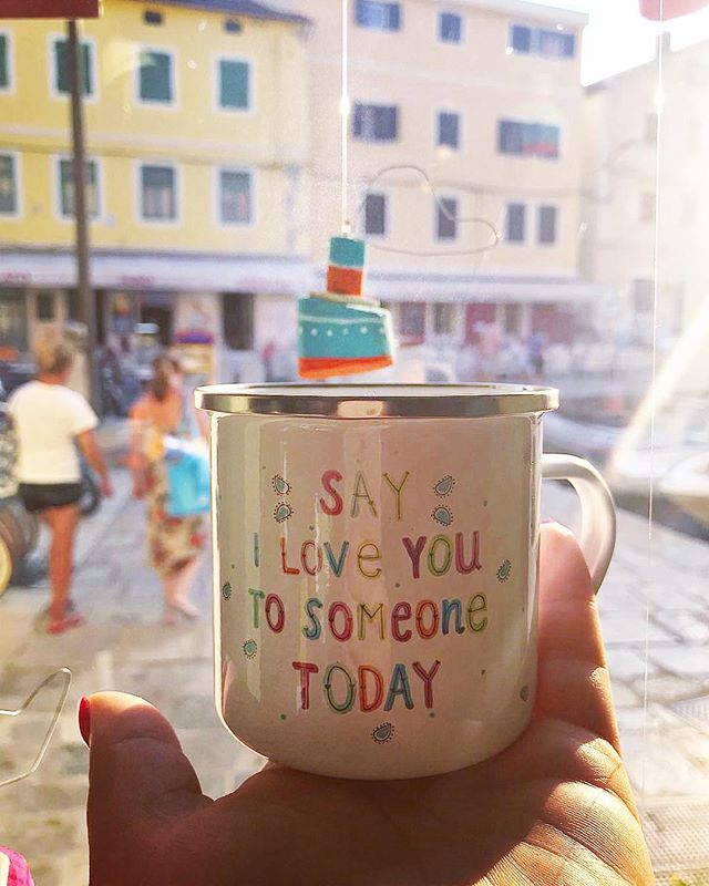 'Say I love you to someone today' cute enamel mug with my design 😍 #lovemug #loveenamelmugs #enamelmug #lescherubinsart #lescherubins #dominikabozic #lescherubinsbydominika #