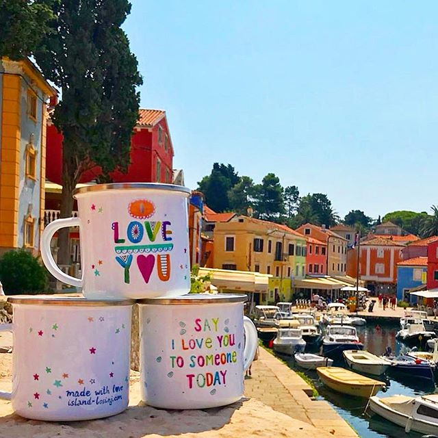 I Love 💕 you enamel mugs. order yours from @golosinj #enamelmug #lescherubins #go2losinj #iloveyoumug #lescherubins #lescherubinsbydominika