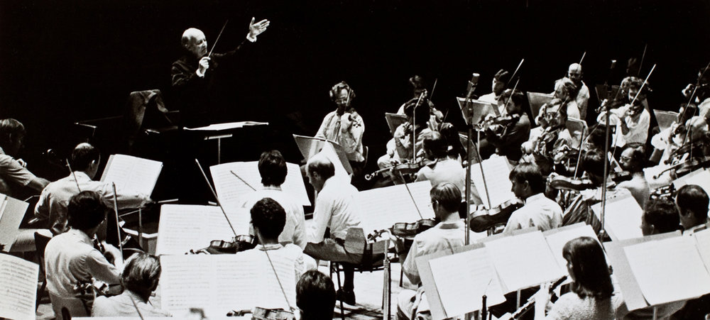 Witold Lutoslawski with an orchestra