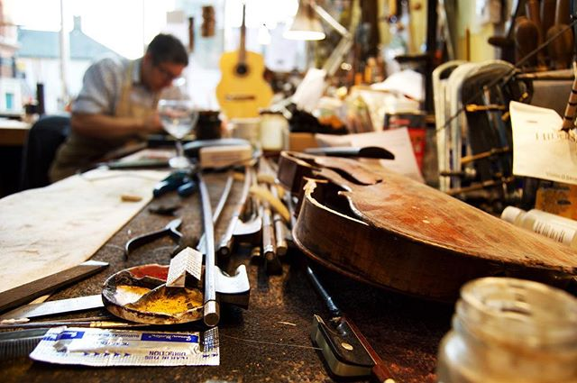 The workshop. #woodbridgeviolins