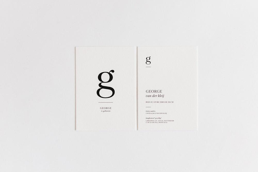 geboortekaartje minimal lettertype