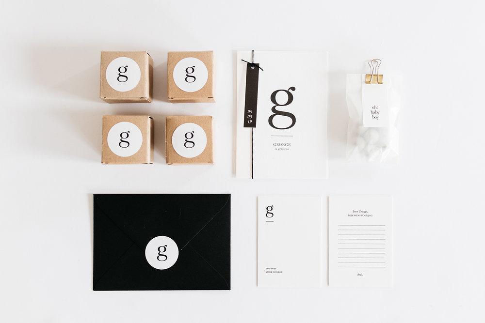 geboorte stationery minimal letters