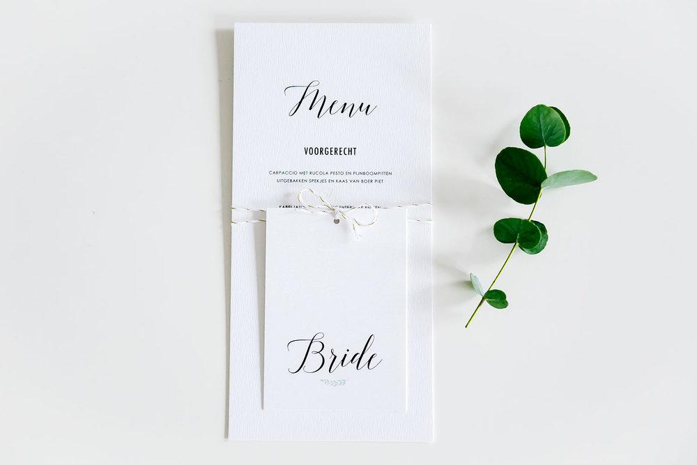 menukaart & naamkaartje