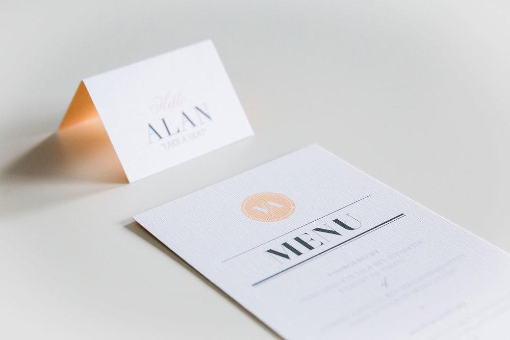 menukaart / plaatskaartje