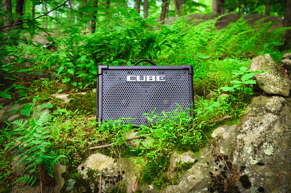 The Roland Cube Ex, one of several rechargable battery-powered pieces of equipment we used to make our setup usable in the woods.
