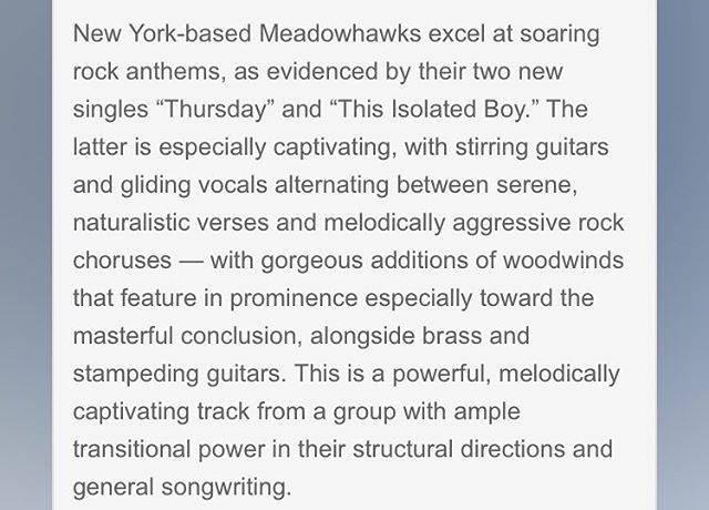 Thanks to Obscure Sounds for the thoughtful and flattering write up! We're so glad people like the tracks! #Meadowhawks #Thursday #ThisIsolatedBoy #Singles