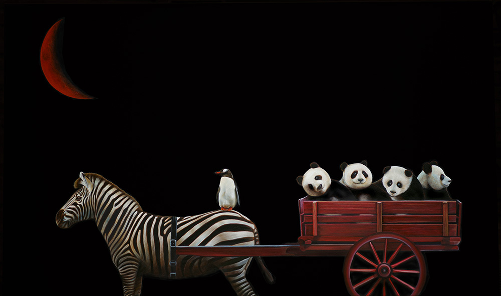 Panda Wagon | 36 x 60 | Oil on canvas
