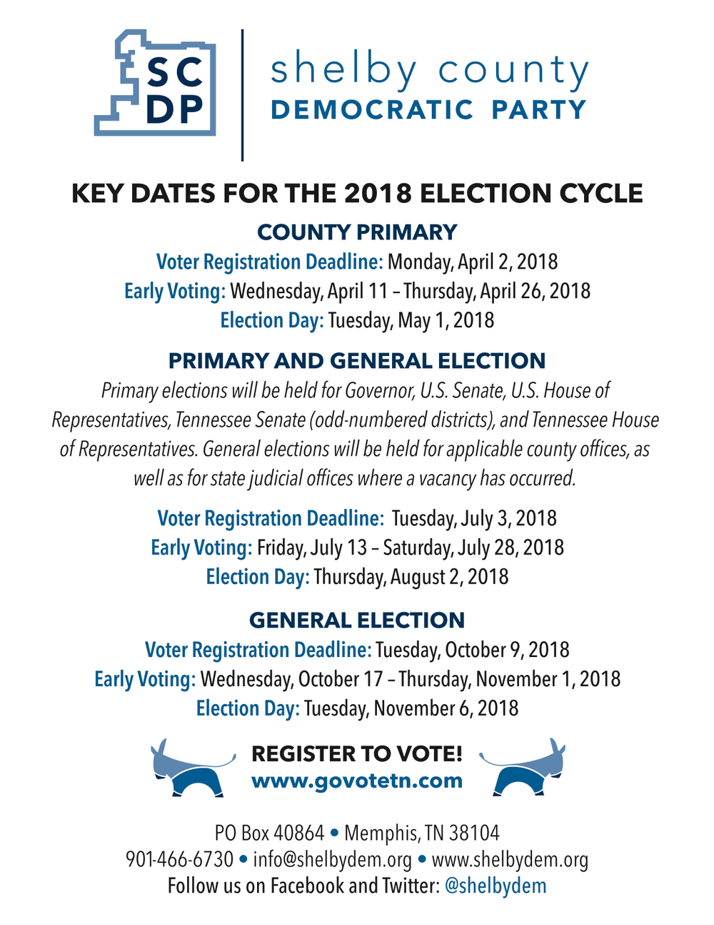 Thanks to SCDP for this reference guide to the election cycle!