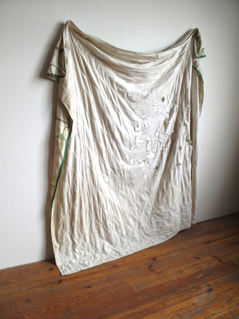 undercoat, 2012, quilt, gunshots, spackling