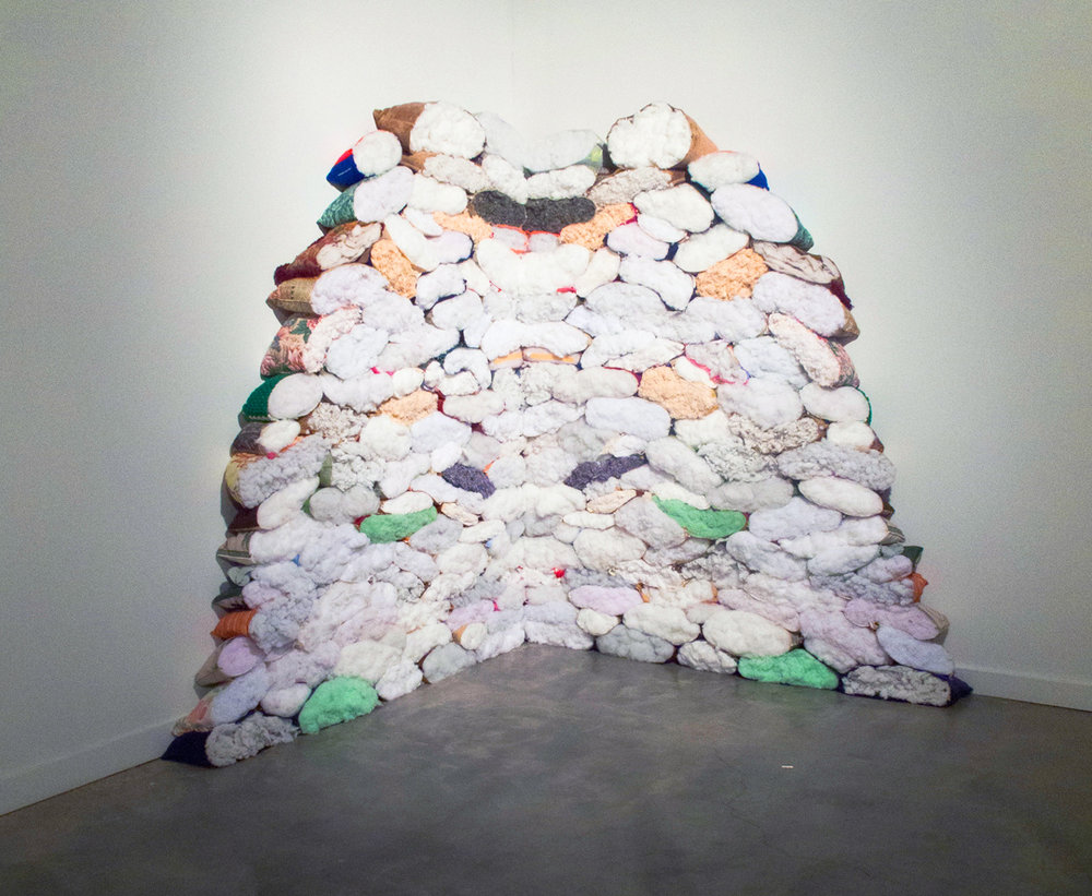 Sound thief, 2014, cut pillows