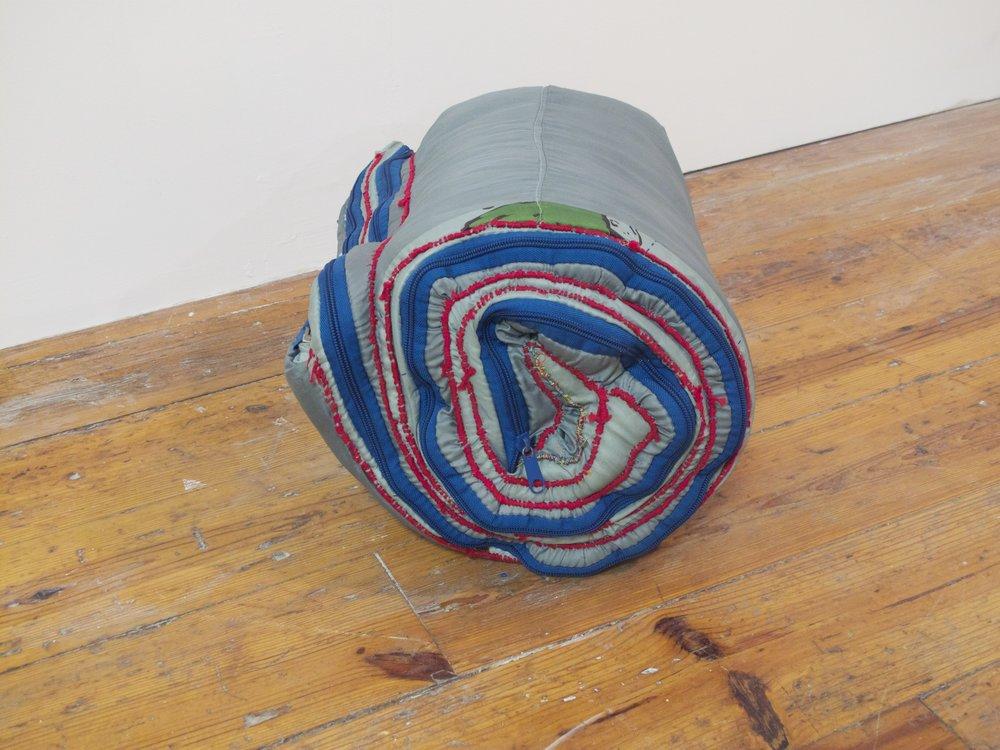 Little turned II, sewn sleeping bag, 2013