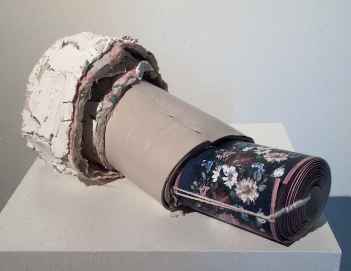 Little turned painting, 2011, wallpaper, yarn, paint, brick form, plaster, quilt