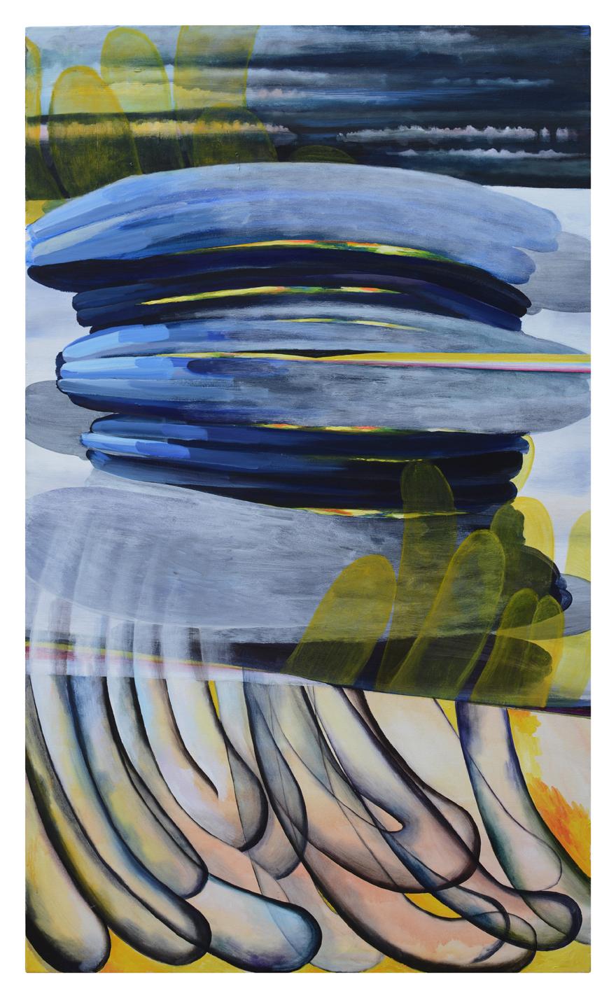 "Transcendental slice beam, 2017, 60""x36"", Acrylic on canvas"