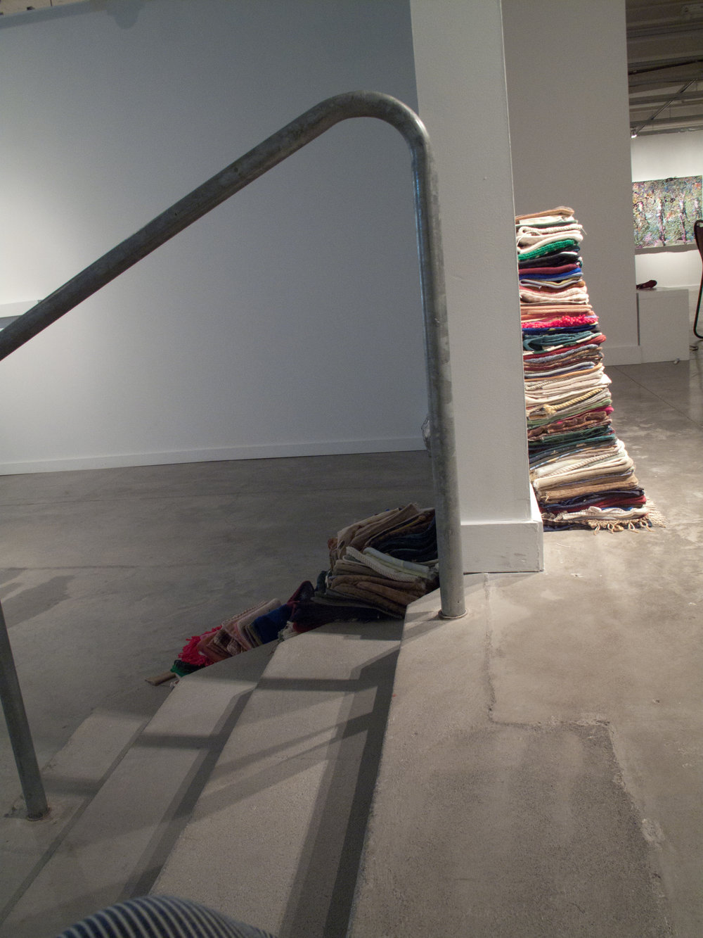 Leaning Stack, cut pillow cases, gallery wall.2012