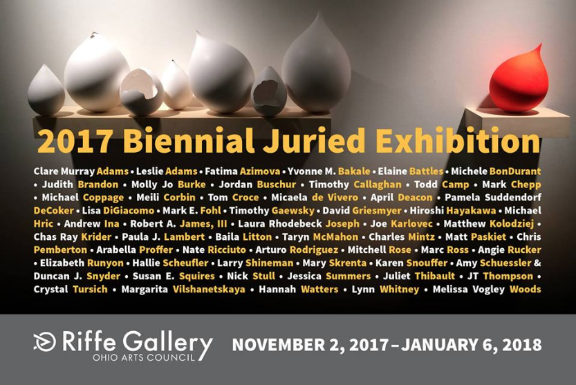 "Selected from more than 300 applications, the OAC Riffe Gallery's ""Biennial Juried Exhibition"" features contemporary works of art including installation, sculpture, drawing, painting, photography, and video by 59 artists living and working in Ohio. Artworks were selected by jurors: Larry Collins, artist and associate professor, Department of Art at Miami University; Janice Driesbach, former chief curator, Akron Museum of Art; and Daniel Hernandez, artist and assistant professor of Interdisciplinary Art/Foundations, University of Toledo."