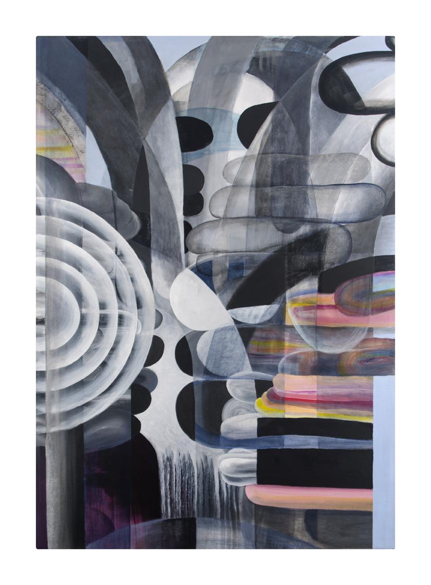 """Chamber    acrylic, glaze, marble dust on canvas    35"""" x 50""""     2017"""