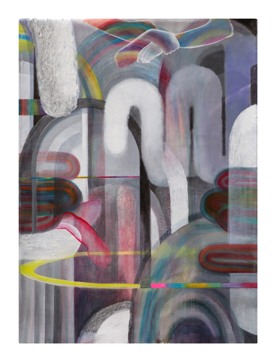 """Open Tactics    acrylic, glaze, marble dust on canvas    35 ½"""" w x 48"""" h inches    2018"""